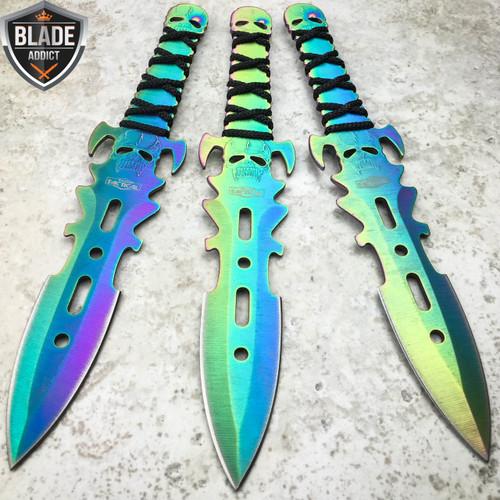 3PC Ninja Tactical Combat Kunai Throwing Knife + Sheath RAINBOW SET