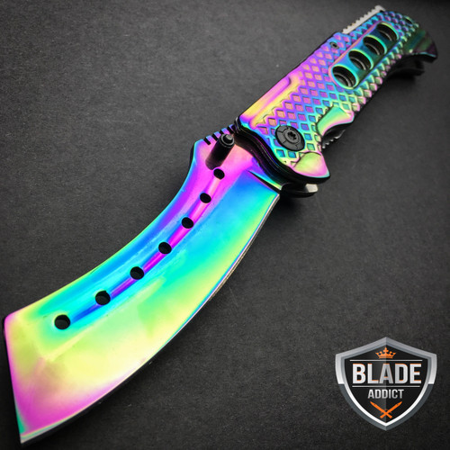 """9"""" TACTICAL Razor Spring Assisted Open Folding Pocket Knife RAINBOW CLEAVER New"""