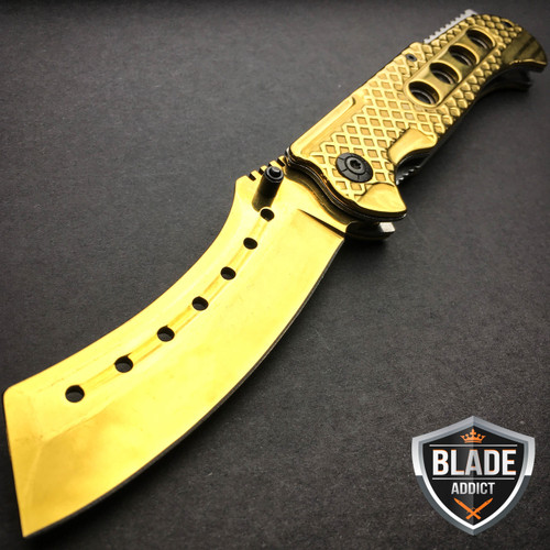"""9"""" TACTICAL Razor Spring Assisted Open Folding Pocket Knife GOLD CLEAVER New"""