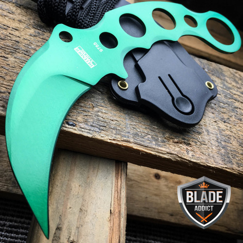 TACTICAL GREEN COMBAT KARAMBIT NECK KNIFE Survival Hunting BOWIE Fixed Blade