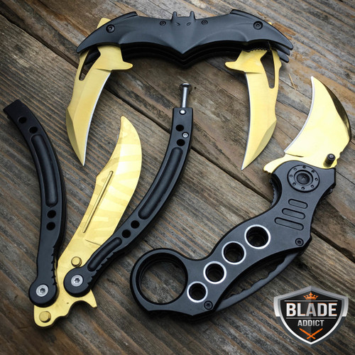 3PC BATMAN GOLD KNIFE SET