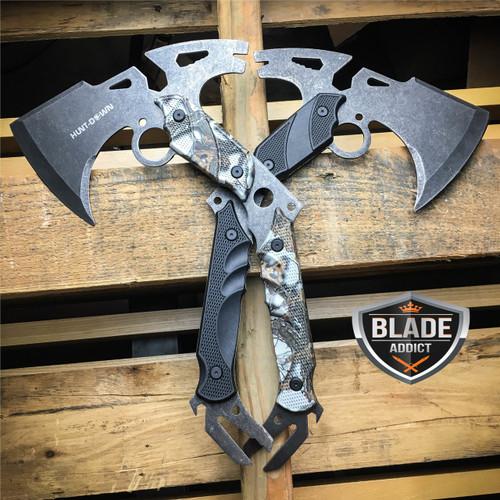 "2PC 13"" SURVIVAL TOMAHAWK TACTICAL THROWING AXE STONEWASH BATTLE Hatchet Knife"