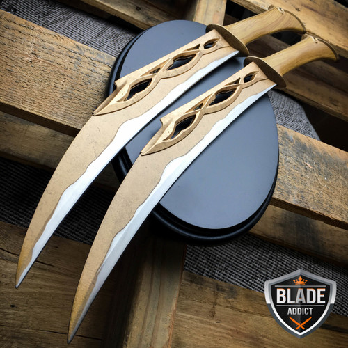 HOBBIT LORD OF THE RINGS FIGHTING KNIVES OF TAURIEL REPLICA DAGGERS + PLAQUE NEW