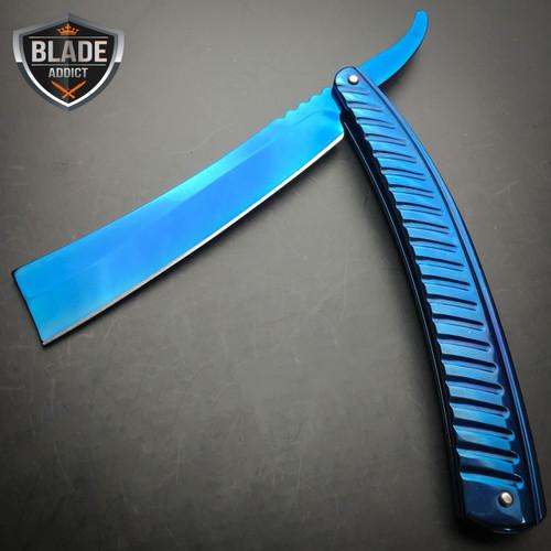 Blue FADE Straight Blade Barber Razor Folding Pocket Knife Shaving Cut Throat