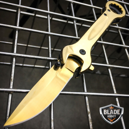 """7.5"""" MULTI-TOOL WRENCH TACTICAL SPRING ASSISTED OPEN FOLDING POCKET KNIFE GOLD"""