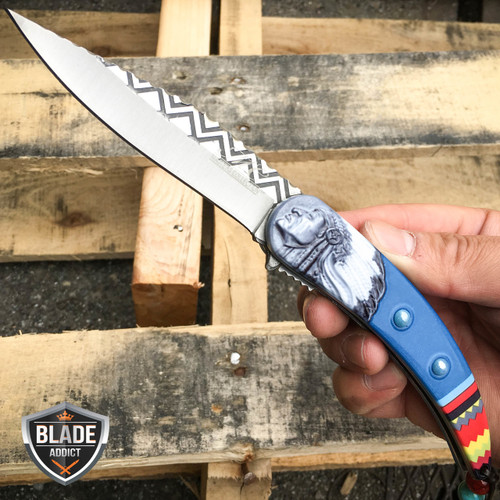 """8.5"""" Native American Indian Spring Assisted Open Folding Pocket Knife BLUE EDC"""