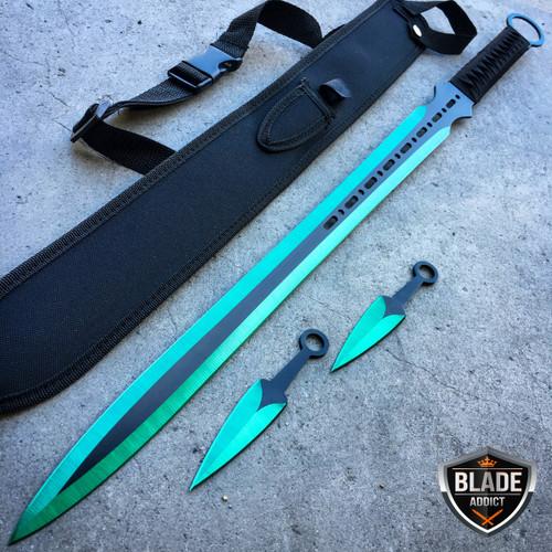 "28"" GREEN NINJA SWORD Full Tang Machete Tactical Blade Katana Throwing Knife NEW"