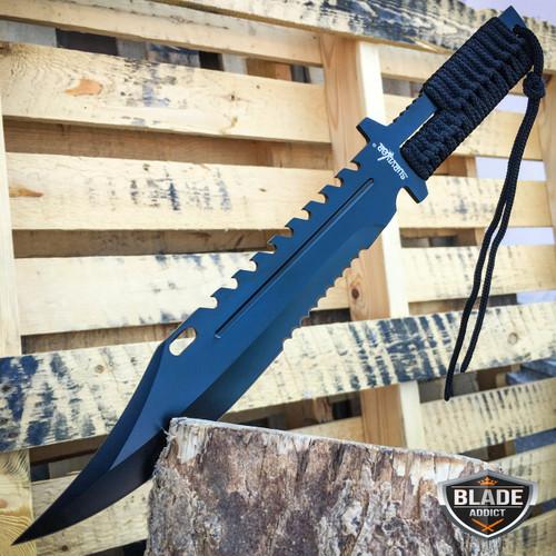 "13"" TACTICAL SURVIVAL Rambo Full Tang FIXED BLADE KNIFE Hunting w/ SHEATH"