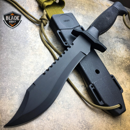"""12"""" ARMY Hunting Fixed Blade Tactical Combat Survival Knife Military Bowie + CASE"""