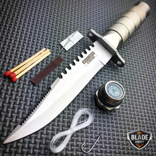 """8.5"""" Fixed Blade Tactical Fishing Hunting Camping Knife + CASE + Survival Kit"""
