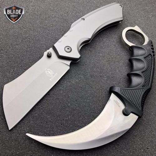 2PC TACTICAL Spring Assisted Pocket Knife CLEAVER RAZOR GUN METAL + Karambit SET