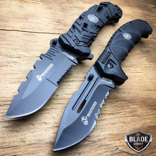 2PC MTECH USMC MARINES Spring Assisted Open Tactical Rescue Folding POCKET KNIFE