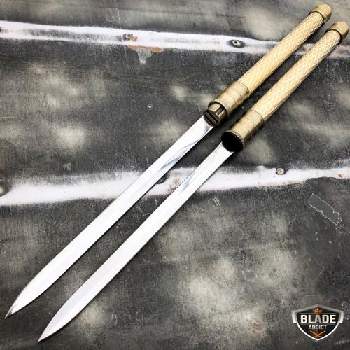 """25"""" NINJA SAMURAI Dual Blade TWIN SWORDS Katana Japanese Combat COSPLAY GOLD New"""