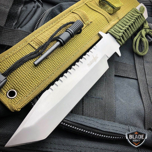 """11"""" Military Hunting Tactical FIXED BLADE Knife Survival Bowie + Firestarter SET"""
