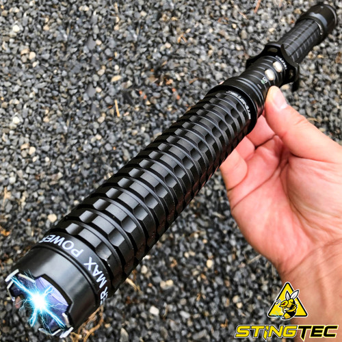 "STINGTEC 17"" LONG Metal POLICE Stun Gun 350 Million Volt Rechargeable + LED Flashlight"