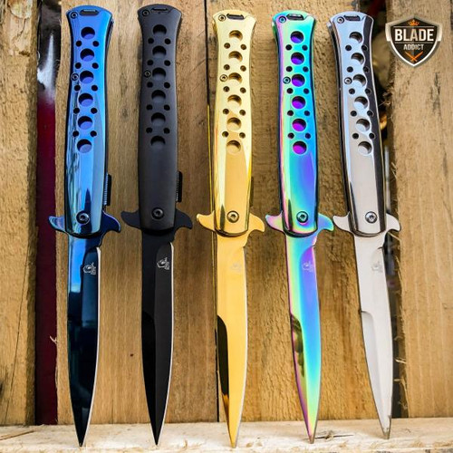 """9"""" SPRING ASSISTED TACTICAL STILETTO Folding POCKET KNIFE Blade Open Stainless"""