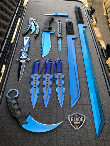 Elite Blue Tactical Set - Swords, Karambit, Throwing Knives, Pocket Knife, Balisong Trainer SET