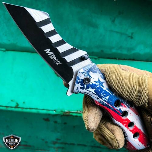 "8.25"" USA FLAG AMERICAN  Tactical Cleaver Spring Assisted Pocket Folding Knife"