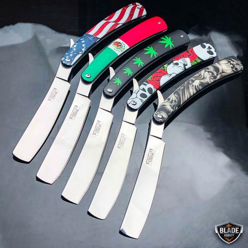 Shaving Straight Edge Razor Steel Folding Pocket Knife Barber Beard Cut Throat