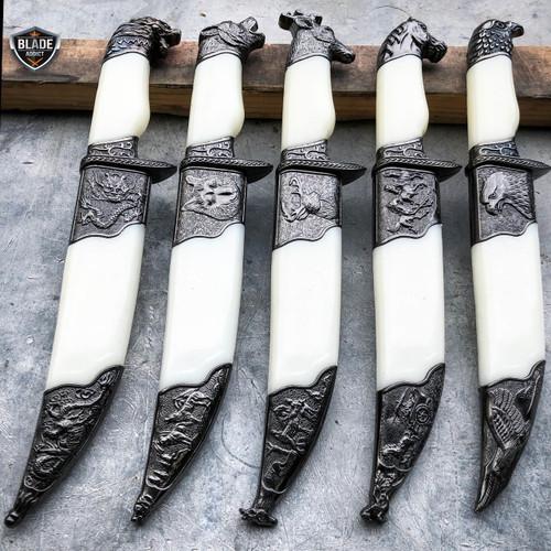 Hunting Wildlife Dagger Fixed Blade Animal Head Pommel Short Fantasy Knife NEW