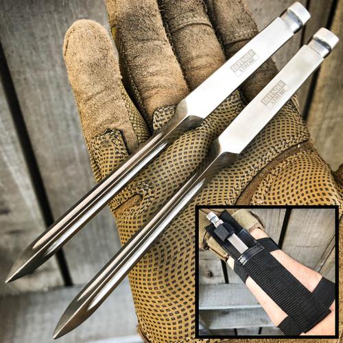 "2PC 7"" Ninja Tactical Throwing Spike Dart Quill Triangle Fixed Blade Kunai Knife"