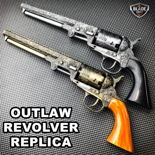 GOLD Outlaw Revolver Replica w Stand COLT NAVY CIVIL WAR CALVARY CONFEDERATE Gun