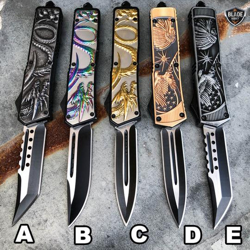 "9"" Tactical Dragon Native American Indian Eagle COMBAT OTF"