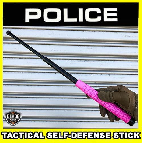 """21"""" or 26"""" Solid Steel Tactical Expandable Baton Stick Self Defense w/ Nylon Pouch - Pink"""