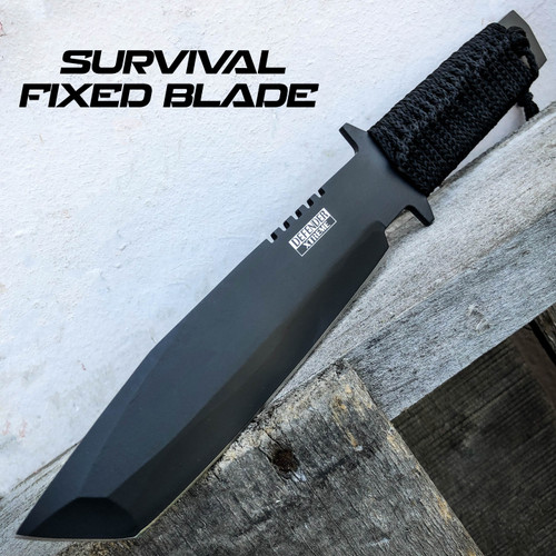 """11"""" Black Full Tang Tactical Survival Hunting Knife Fixed Blade w/ Sheath NEW"""
