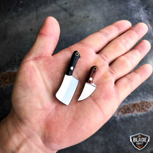 Tiny Miniature REAL Cleaver Fixed Blade Knife w/ Sheath