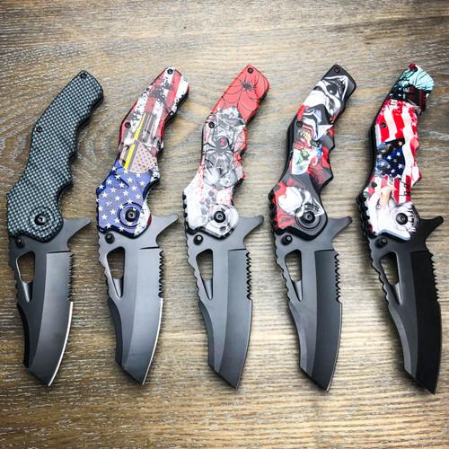 "8.75"" Ballistic Tactical Cleaver Spring Assisted Open Folding Pocket Knife Blade"