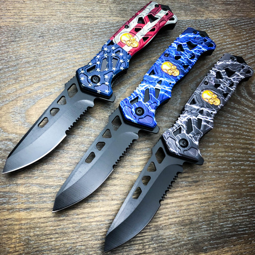 MILITARY TACTICAL Spring Assisted Open Pocket Knife Skull Folding Blade NEW