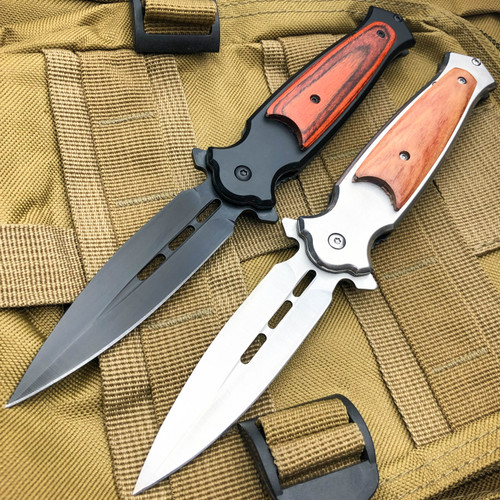 Dagger Style Spring Assisted Open Folding STILETTO Pocket Knife w/ Wood Handle