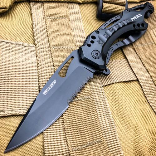 """8"""" TAC FORCE BLACK POLICE SPRING ASSISTED TACTICAL FOLDING KNIFE Blade Open Pocket"""