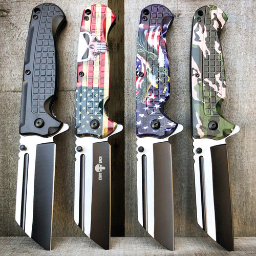 Military TACTICAL Cleaver Razor Assisted Open Pocket Folding Knife Blade