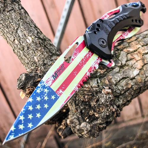 "8"" M-TECH USA AMERICAN FLAG Spring Folding Assisted POCKET KNIFE Bottle Opener"