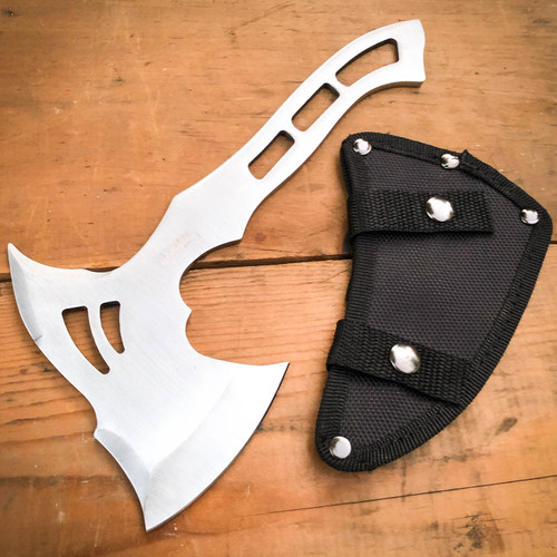 """10"""" Full Tang Stainless Steel Tomahawk Throwing Axe Hatchet Hiking Camping Knife"""
