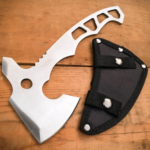 "10"" Stainless Steel Full Tang Tomahawk Throwing Axe Hatchet Hiking Camping Knife"