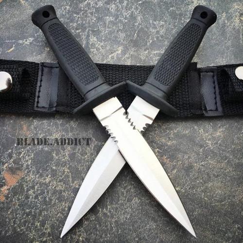 "2PC 7"" Military Tactical Combat Throwing Knife Dagger Set Hunting Ninja Naruto"