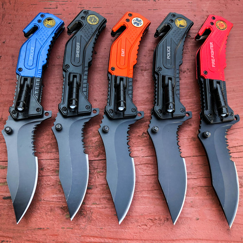 """8"""" Military Tactical Rescue LED Light Folding Spring OPEN Assisted Pocket Knife"""