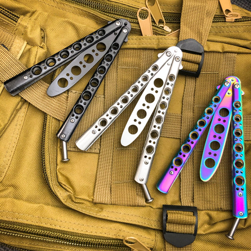 Butterfly Balisong Trainer Knife Training Dull Tool Stainless Metal Practice NEW