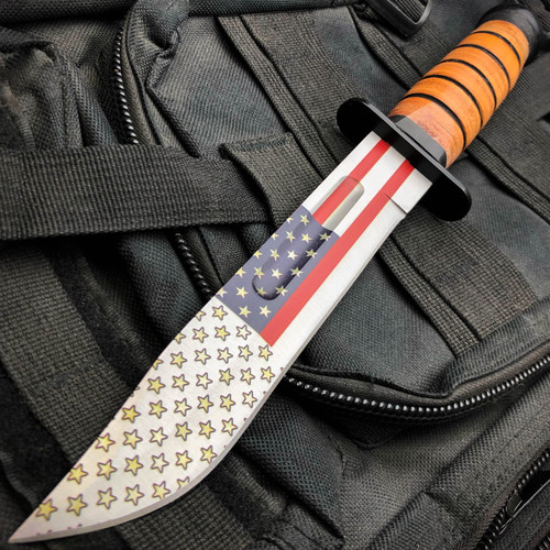 """12"""" Military Tactical USA FLAG WWII COMBAT Fixed Blade Survival Hunting KNIFE"""