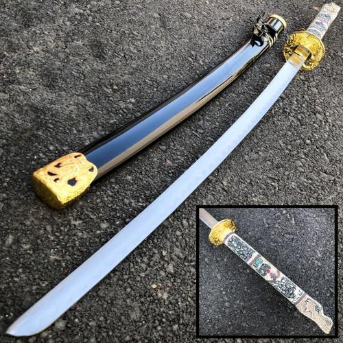 "40"" Gold Dragon SAMURAI NINJA Bushido KATANA Japanese Sword Tsuba Steel Blade"