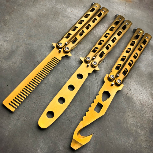 GOLD Butterfly Balisong Trainer Knife Training Comb Blade Stainless Practice