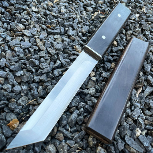 """10.2"""" Samurai Tanto Style Fixed Blade Hunting Camping Kitchen Knife w/ Wood"""