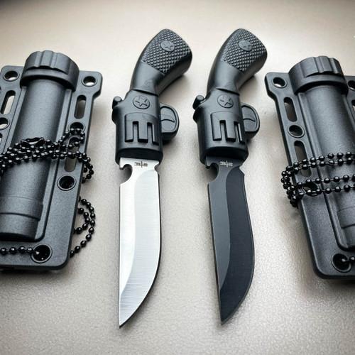 "5.75"" TACTICAL MILITARY COMBAT FIXED BLADE DAGGER GUN PISTOL STYLE NECK KNIFE"