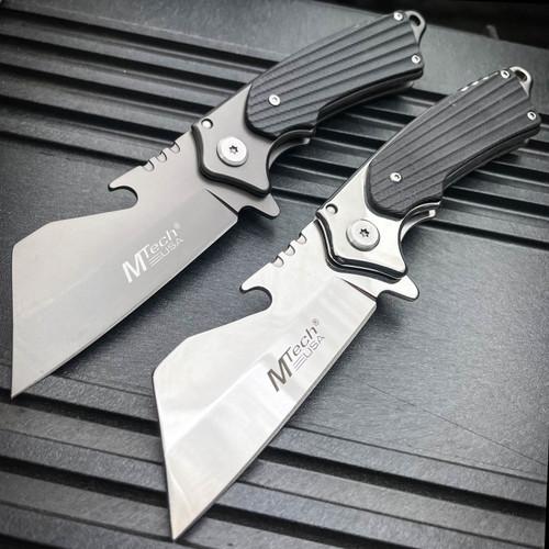 M-TECH TACTICAL Assisted Open Pocket CLEAVER RAZOR Folding Knife Bottle Opener