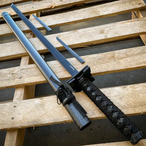Japanese Samurai Sword KATANA Carbon Steel Blade BLACK Dragon w Throwing Knives