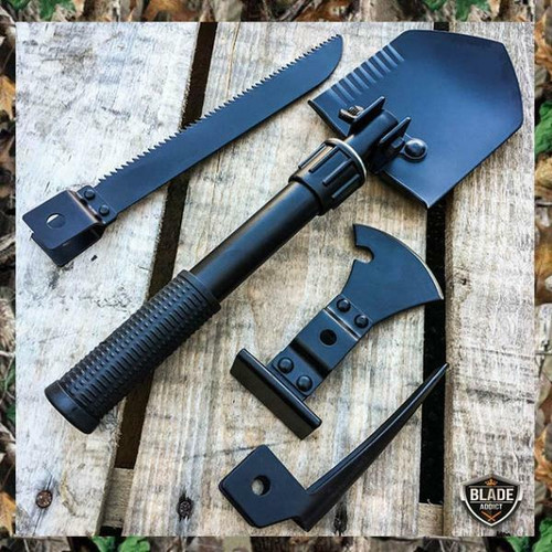 BLACK 5 in 1 Multi Purpose Camping Emergency Tool - Shovel Saw Axe Pick Compass