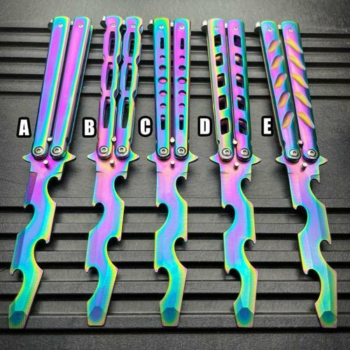 Practice BALISONG METAL BUTTERFLY Assorted Trainer Knife BLADE Bottle Opener NEW